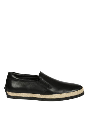 Tod'S: Loafers & Slippers - Black leather slip-ons