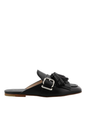 Tod'S: Loafers & Slippers - Black leather slippers with tassels