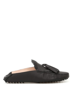 Tod'S: Loafers & Slippers - Black leather tasselled slippers