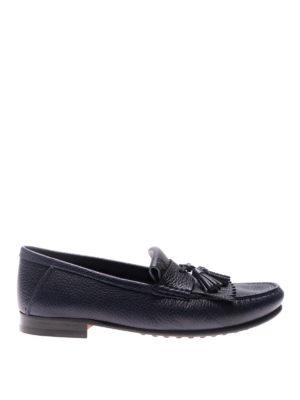 TOD'S: Mocassini e slippers - Mocassini blu con frangia e nappe