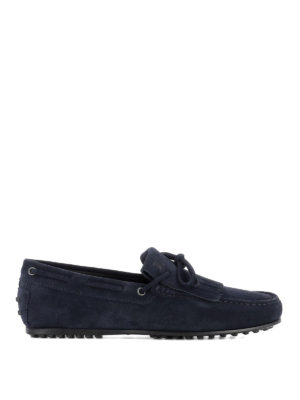 TOD'S: Mocassini e slippers - Mocassini blu con frangia in suede