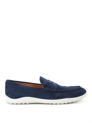 Tod'S: Loafers & Slippers - Blue suede loafers