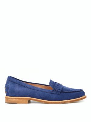 TOD'S: Mocassini e slippers - Mocassini in pelle scamosciata blu