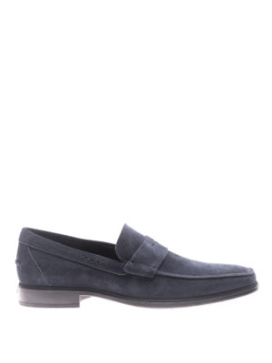 Tod'S: Loafers & Slippers - Blue suede loafers with rubber sole