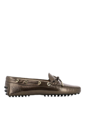 Tod'S: Loafers & Slippers - Brown metallic leather loafers