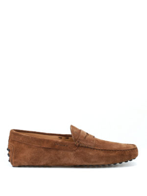 TOD'S: Mocassini e slippers - Mocassini driver camoscio marrone