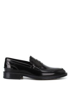 TOD'S: Mocassini e slippers - Mocassini in pelle spazzolata con mascherina