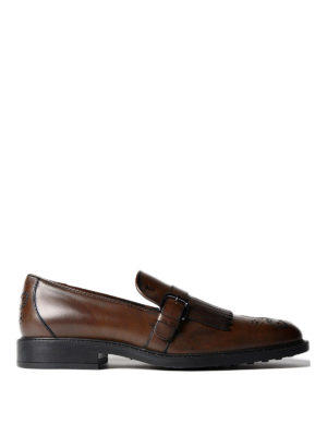 Tod'S: Loafers & Slippers - Buckled fringed leather loafers
