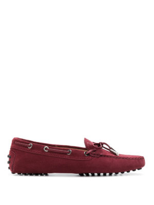TOD'S: Mocassini e slippers - Mocassini in camoscio bordeaux con laccetti