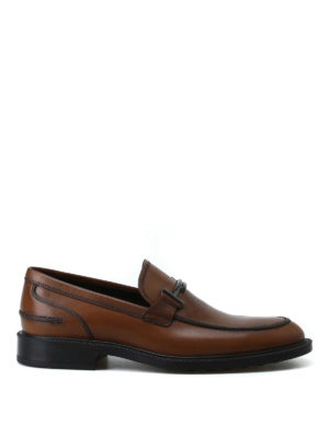 TOD'S: Mocassini e slippers - Mocassini in pelle cacao con Double T brunito