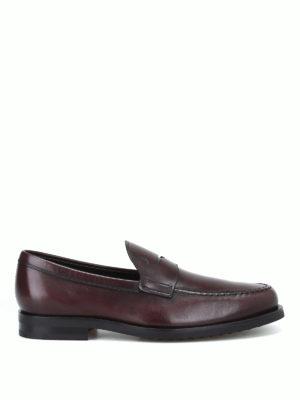 TOD'S: Mocassini e slippers - Mocassino formale in pelle marrone bruciato
