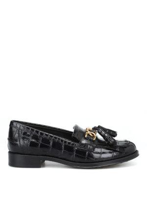 TOD'S: Mocassini e slippers - Mocassini stampa cocco con catena e nappine
