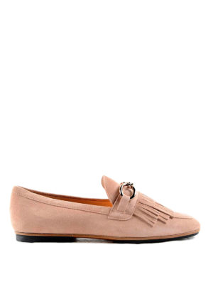 Tod'S: Loafers & Slippers - Chain detail suede slippers