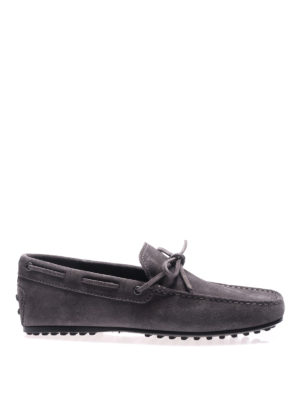 Tod'S: Loafers & Slippers - City Gommino ash grey suede loafers