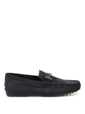 Tod'S: Loafers & Slippers - City Gommino blue suede loafers