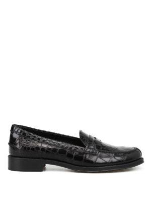 TOD'S: Mocassini e slippers - Mocassini in pelle nera lucida stampa cocco
