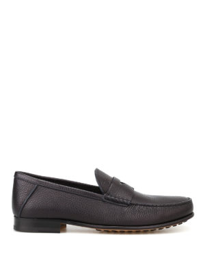 Tod'S: Loafers & Slippers - Dark blue grainy leather loafers