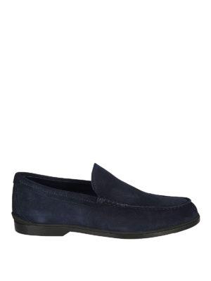 TOD'S: Mocassini e slippers - Mocassini in camoscio blu con suola in gomma