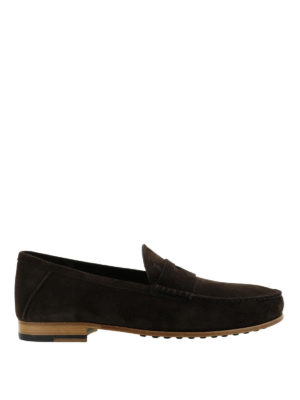 TOD'S: Mocassini e slippers - Mocassino scamosciato marrone