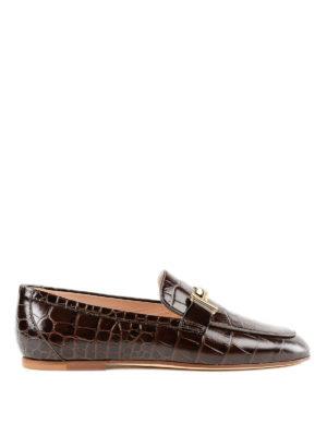 TOD'S: Mocassini e slippers - Mocassini Doppia T in pelle con logo