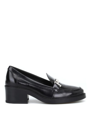 TOD'S: Mocassini e slippers - Mocassini Double T neri con tacco