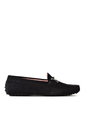 Tod'S: Loafers & Slippers - Double T black suede loafers