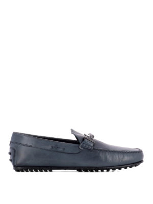 Tod'S: Loafers & Slippers - Double T blue leather loafers