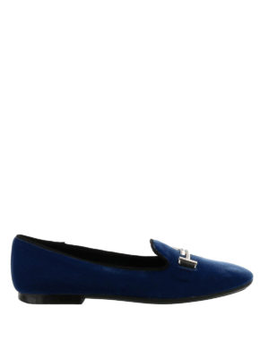 TOD'S: Mocassini e slippers - Mocassini punta tonda in velluto blu Double T