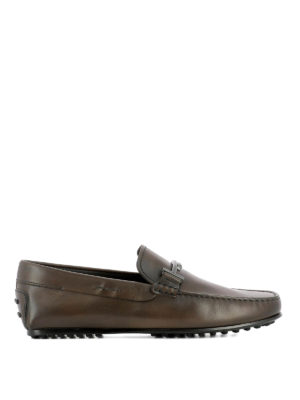 Tod'S: Loafers & Slippers - Double T brown leather loafers