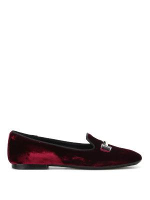 Tod'S: Loafers & Slippers - Double T burgundy velvet slippers