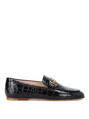 TOD'S: Mocassini e slippers - Mocassini doppia T in pelle stampa cocco