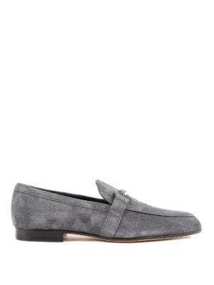 TOD'S: Mocassini e slippers - Mocassini in pelle scamosciata Double T