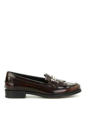 Tod'S: Loafers & Slippers - Double T fringed leather loafers