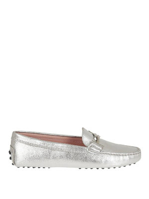 TOD'S: Mocassini e slippers - Mocassini double T pelle laminata