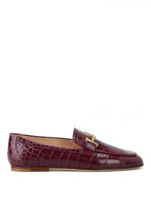 TOD'S: Mocassini e slippers - Mocassini Double T pelle mosto stampa cocco