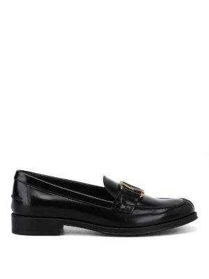 TOD'S: Mocassini e slippers - Mocassini neri con morsetto ovale doppia T