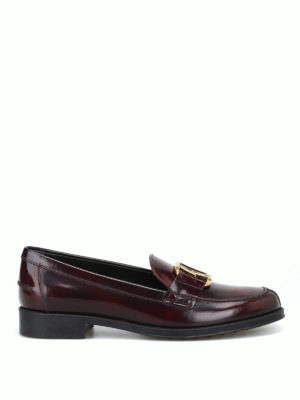TOD'S: Mocassini e slippers - Mocassini con morsetto doppia T color mosto