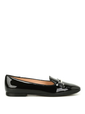 Tod'S: Loafers & Slippers - Double T patent leather slippers