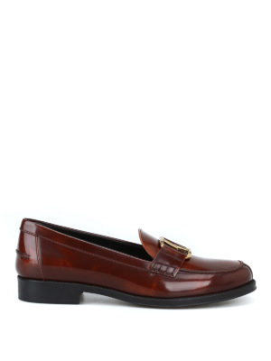 TOD'S: Mocassini e slippers - Mocassini in pelle spazzolata con Double T
