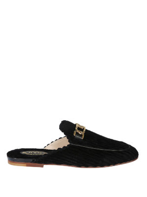 TOD'S: Mocassini e slippers - Slipper in velluto a coste e pelle Double T