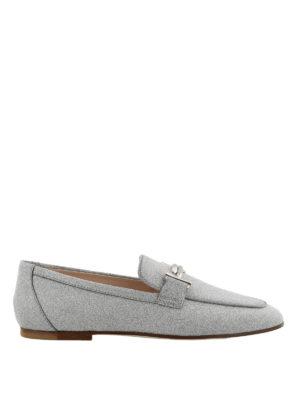 TOD'S: Mocassini e slippers - Mocassini pelle glitterata argento Double T