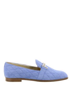 TOD'S: Mocassini e slippers - Mocassino matelassé celeste