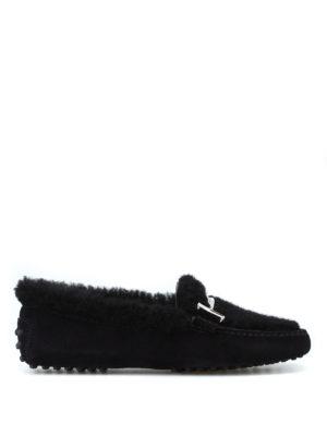 TOD'S: Mocassini e slippers - Mocassini in suede e montone con doppia T