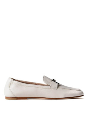Tod'S: Loafers & Slippers - Double T white leather loafers