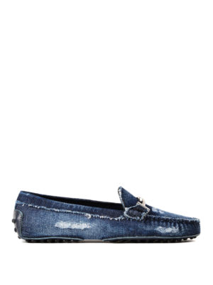 Tod'S: Loafers & Slippers - Double T worn out denim loafers