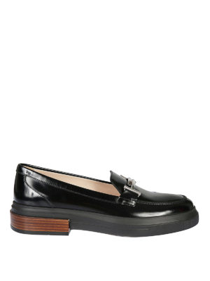 TOD'S: Mocassini e slippers - Mocassini in vernice nera flatform Double T