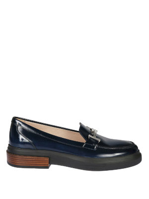 TOD'S: Mocassini e slippers - Mocassini in vernice blu flatform Double T