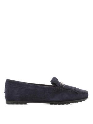 TOD'S: Mocassini e slippers - Mocassini suede blu frange forate