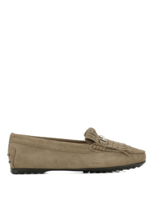 TOD'S: Mocassini e slippers - Mocassini in suede frange forate