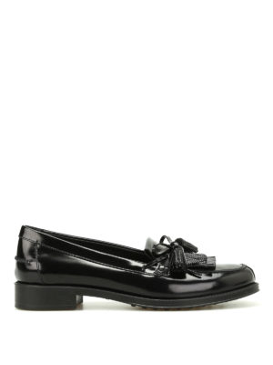 Tod'S: Loafers & Slippers - Embellished brushed leather loafers